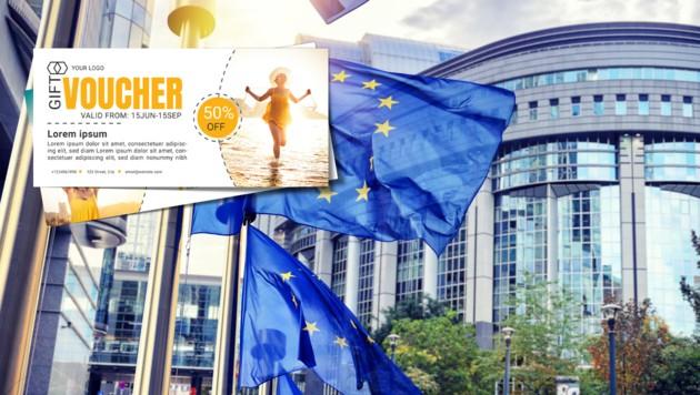 Laut einem Strategiedokument will die EU-Kommission eine staatliche Absicherung von Reise-Gutscheinen. (Bild: stock.adobe.com, krone.at-Grafik)