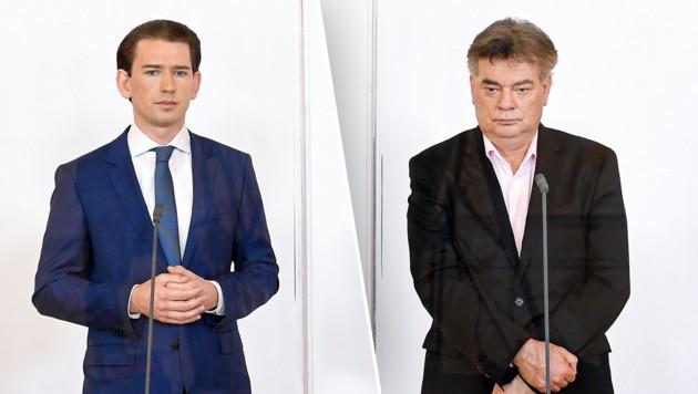 Kanzler Kurz (li.), Vizekanzler Kogler (Bild: APA/ROLAND SCHLAGER, krone.at-Grafik)