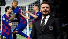 Arturo Vidal (Zweiter von links) hat das Interesse von David Beckham (re.) geweckt. (Bild: APA/AFP/LLUIS GENE, AP, krone.at-Grafik)