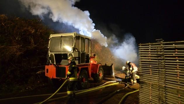 Ein Staudenhaufen brannte bei einer Gärtnerei in Deutschlandsberg. (Bild: OFM Hannes Mörth)