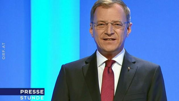 """Thomas Stelzer in der ORF-""""Pressestunde"""" (Bild: ORF)"""