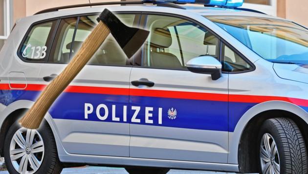 Mit dieser Axt bedrohte der Mann seinen Nachbar. (Bild: Christof Birbaumer, LPD Wien, krone.at-Grafik)