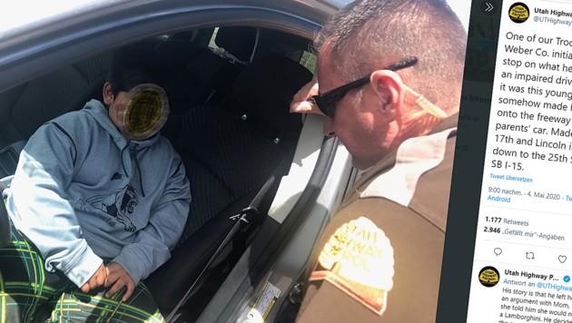 Der Fünfjährige wurde auf der Autobahn von der Polizei gestoppt. (Bild: twitter.com/UTHighwayPatrol)