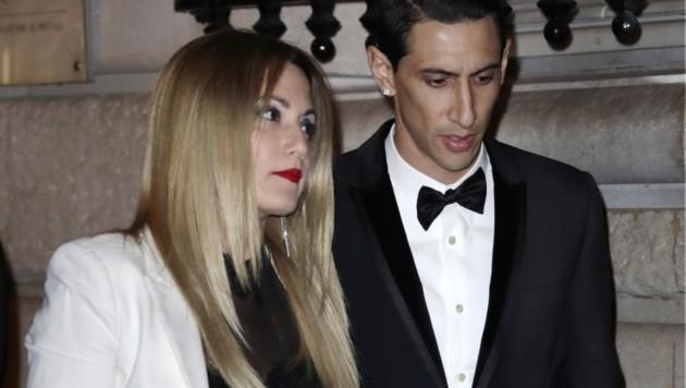 Angel Di Maria (re.) und seine Ehefrau Jorgelina Cardoso (Bild: AFP )