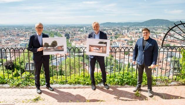 GrazMuseum-Chef Otto Hochreiter, Stadtrat Günter Riegler und Architekt Christian Reschreiter (v.li.). (Bild: Foto Fischer)
