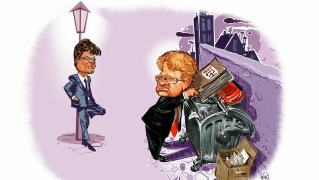 """Unser Karikaturist sieht zu, wie Grün-Politiker Gottfried Hirz den Linzer Stadtchef Klaus Luger (SPÖ) bei der """"Altpapier""""-Entsorgung ertappt. (Bild: Milan A. Ilic)"""