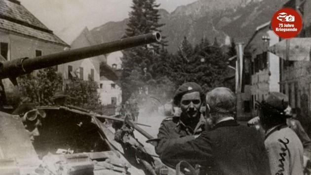 Empfang der britischen Soldaten in Mauthen im Mai 1945. (Bild: Landesarchiv Kärnten)