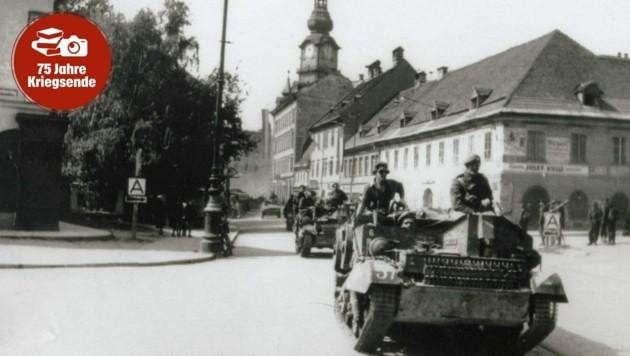 Die britische Armee am Weg von Klagenfurt nach St. Veit. (Bild: Landesarchiv Kärnten)