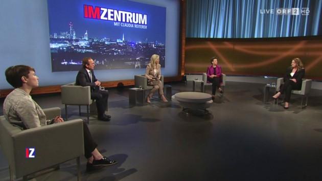 Von links nach rechts: Sigrid Maurer (Grüne), Peter Haubner (ÖVP), Moderatorin Claudia Reiterer, Gabriele Heinisch-Hosek (SPÖ) und Dagmar Belakowitsch (FPÖ) (Bild: ORF TV-Thek)