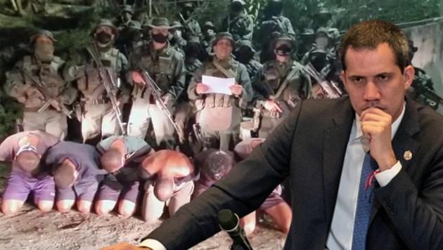 Der selbst ernannte Interimspräsident Juan Guaido weist jegliche Beteiligung an der Kommandoaktion in Venezuela zurück. (Bild: conelmazodando.com.ve, AP, krone.at-Grafik)