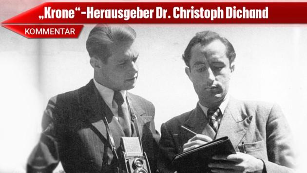 Hans Dichand (re.) mit dem Fotografen Egon Blaschka (Bild: Archiv Kronen Zeitung, krone.at-Grafik)