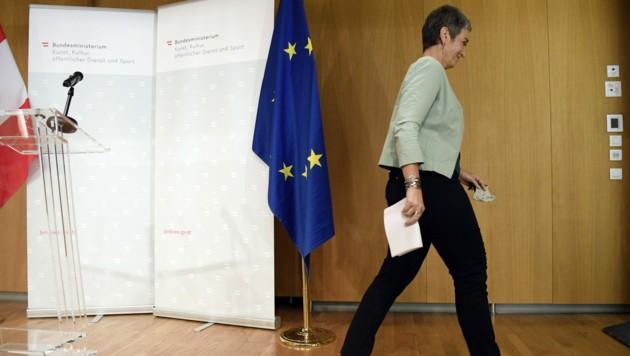 Die ehemalige Kunst- und Kulturstaatssekretärin Ulrike Lunacek (Grüne) trat von der Bühne ab. (Bild: APA/HANS KLAUS TECHT)