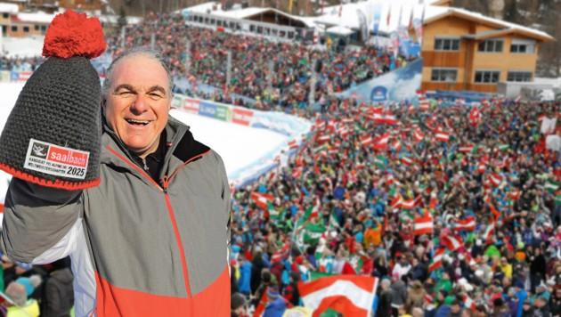 Zigtausende Skifans wären bei einer WM in Saalbach (hier im Weltcup) garantiert – auch Bartl Gensbichler (li.) macht sich durch Corona Gedanken. (Bild: Schiel, Birbaumer)
