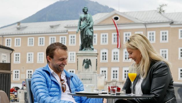 Roland Doblhofer und Alexandra Eng genossen die Zweisamkeit im Café Glockenspiel (Bild: Markus Tschepp)