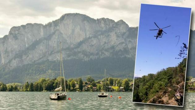Ein Hubschrauber musste den Verunglückten auf der Drachenwand bergen (Bild: Markus Wenzel, Bergrettung Mondsee)