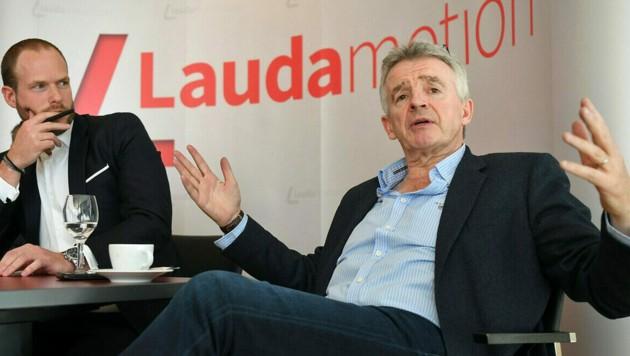 Lauda-Chef Andreas Gruber (li.), Ryanair-Zampano Michael O'Leary (Bild: APA/HELMUT FOHRINGER)