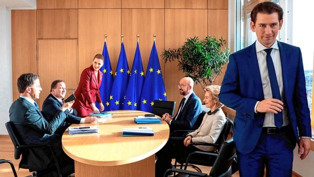 Wer lacht zuletzt? Bis Mittwoch müssen Kanzler Kurz (re.) und die EU-Kommission zueinanderfinden. (Bild: AFP/picturedesk.com/Virginia Mayo)