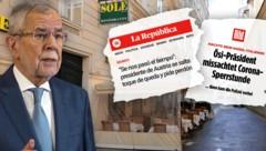Weltweit berichten Medien über den Bundespräsidenten als Sperrstunden-Sünder im Schanigarten. (Bild: Bild, La Republica, APA, krone.at-Grafik)