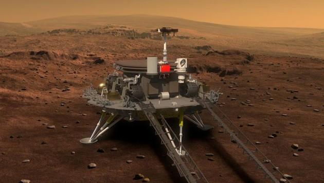 """Künstlerische Darstellung: Der Lander samt Rover """"Zhurong"""" auf der Mars-Oberfläche (Bild: CNSA)"""