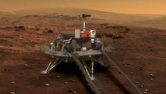 Künstlerische Darstellung: Der Lander samt Rover auf der Mars-Oberfläche (Bild: CNSA)