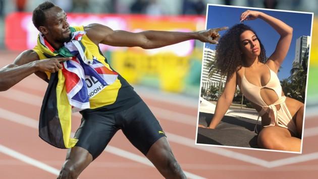 Usain Bolt mit seiner Freundin Kasi Bennett (Bild: GEPA, instagram, krone.at-grafik)