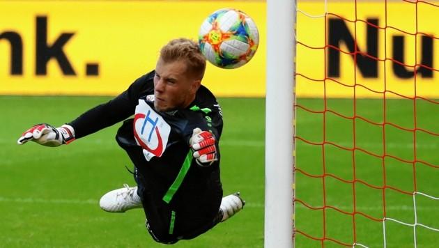 Hartberg-Goalie Rene Swete freut sich auf den ersten Test nach der Corona-Pause. (Bild: Kronen Zeitung)