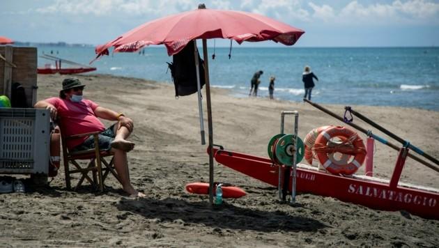 Am Strand von Fregene in der Nähe von Rom
