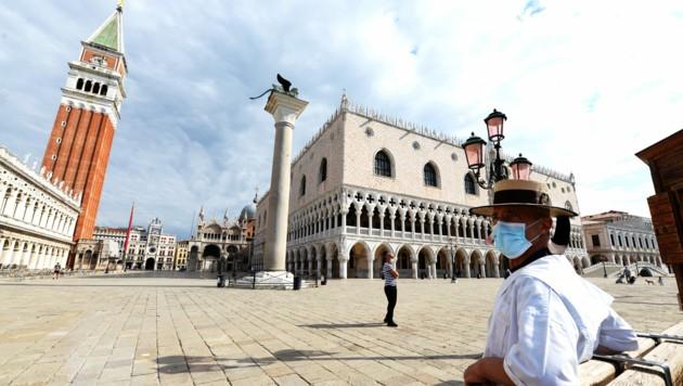 Der Markusplatz ist nach wie vor verwaist. (Bild: AFP or licensors)
