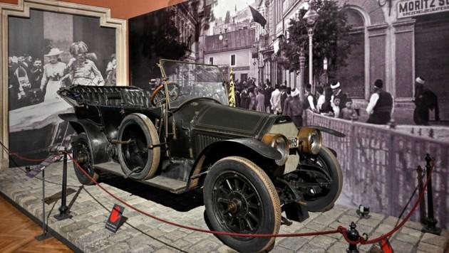Das Automobil, in dem der Österreichische Thronfolger Erzherzog Franz Ferdinand und seine Frau Sophie Chotek am 28. Juni 1914 ermordet wurden (Bild: APA/HERBERT NEUBAUER)