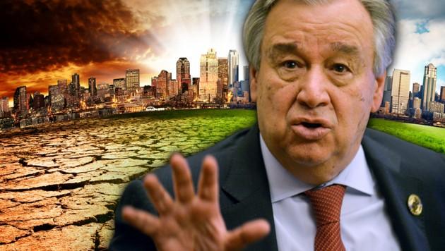 Der Generalsekretär der Vereinten Nationen warnt eindringlich vor der Erhitzung des Planeten. (Bild: AFP, stock.adobe.com, krone.at-Grafik)
