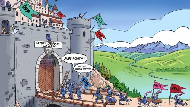 """Die von Schwarz und Rot dominierten steirischen Rathäuser als """"Trutzburgen"""": Gelingt den Kleinparteien ein Siegeszug? (Bild: Alfred Zettler)"""