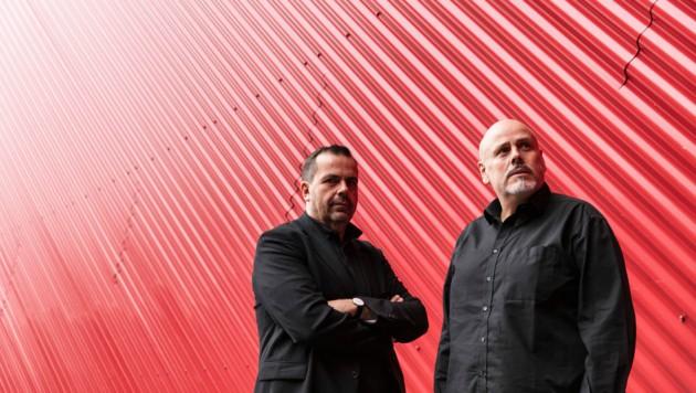 Die Brüder Stefan und Bernhard Marte in der Messehalle in Dornbirn. (Bild: Faruk Pinjo)