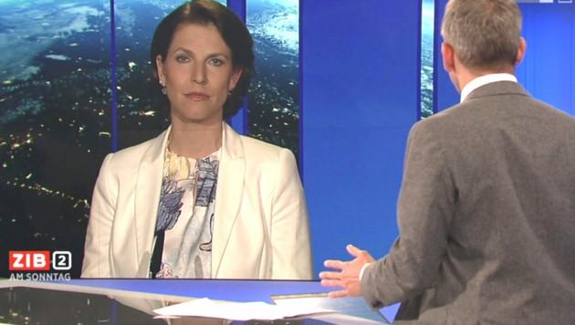 "Karoline Edtstadler (ÖVP) in der ""ZiB 2"" (Bild: ORF-TVthek)"