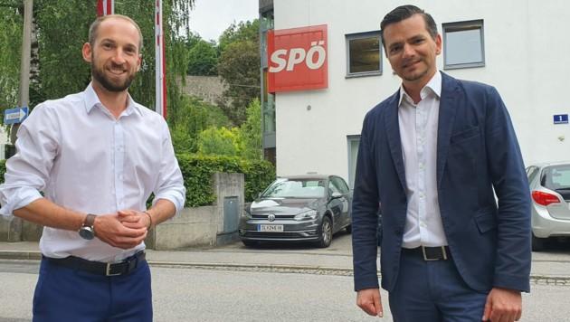 Salzburgs SPÖ-Chef David Egger (li.) und der neue Geschäftsführer Gerald Forcher (Bild: Max Grill)