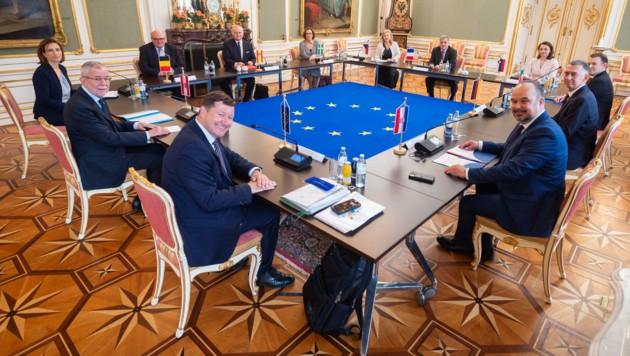 Bundespräsident Alexander Van der Bellen (2. v.l.) mit neun EU-Botschaftern und dem Vertreter der EU-Kommission in Österreich, Martin Selmayr (rechts neben ihm) (Bild: APA/Bundesheer/Carina Karlovits)