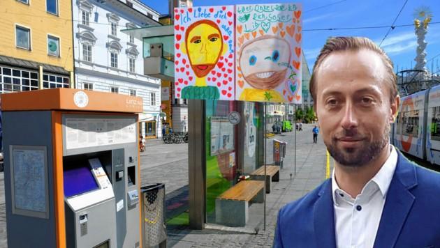 """Kinderzeichnung am Tatort auf dem Linzer Hauptplatz: """"Onkel Dani, wir vermissen dich!"""" (Bild: Horst Einöder, zVg)"""