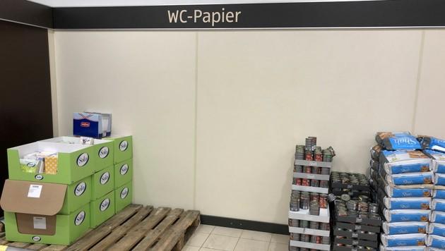 In einem Diskonter in Wien waren am 19. März alle Klopapier-Vorräte ausverkauft. (Bild: Wilhelm Eder)