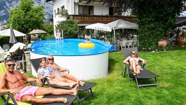 Pool-Gaudi in Götzens (Bild: LIEBL Daniel | zeitungsfoto.at)
