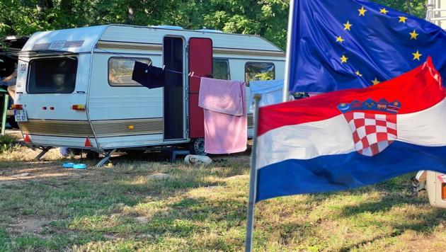 So leer zeigen sich die istrischen Campingplätze sonst nur im Winter. Wenige Slowenen sind schon hier. (Bild: Steiner Clara Milena, stock.adobe.com, krone.at-Grafik)
