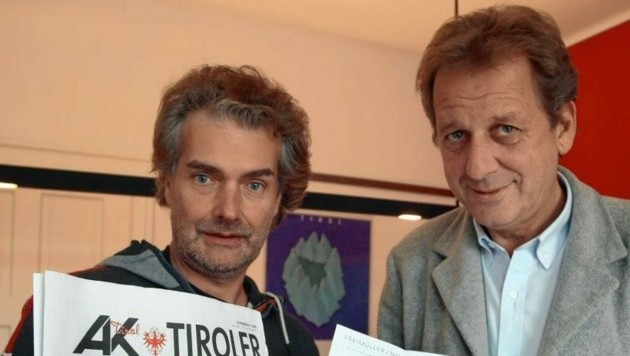 Elmar Schiffkorn (li.) mit AK-Präsident Erwin Zangerl im Jahr 2008. (Bild: Christof Birbaumer)