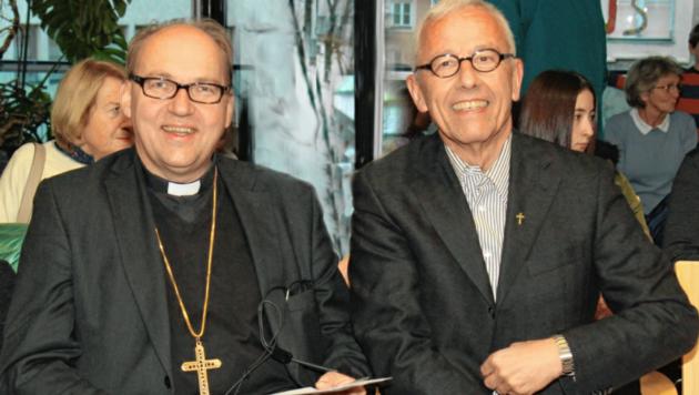 Bischof Hermann Glettler (rechts) zusammen mit Innsbrucks Generalvikar Florian Huber.