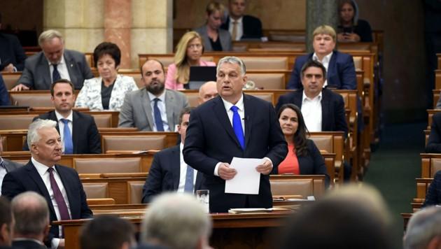 Das ungarische Parlament in Budapest beschloss am Dienstag das Ende des umstrittenen Notstandsgesetzes. (Bild: AFP)
