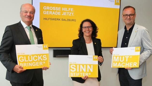 Das Hilfswerk zieht Corona-Bilanz: Präsident Christian Struber, die Geschäftsführer Daniela Gutschi und Hermann Hagleitner (Bild: Hilfswerk)