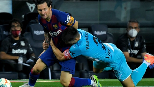 Messi gegen Unai Bustinza. (Bild: AFP /Lluis Gene)