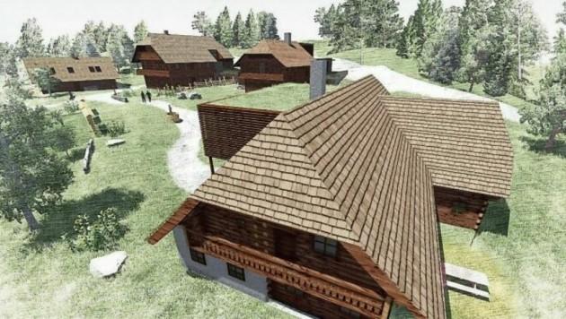 Vier nachgebildete Bauernhäuser aus der Franzosenzeit werden demnächst im Ortszentrum von Rennweg entstehen. (Bild: Gerhard Bucher )