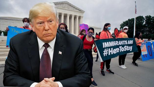 """Diese Demonstranten hatten es schon vor dem Urteil gewusst: US-Präsident Donald Trump darf die unter dem sogenannten """"Dreamer""""-Schutzpogramm stehenden Migranten nicht abschieben."""