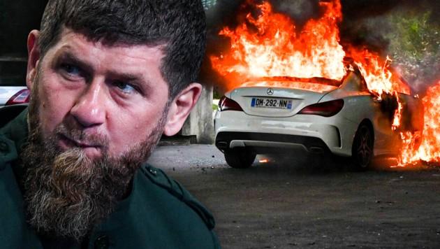 """Ramsan Achmatowitsch Kadyrow ist der Chef der russischen Teilrepublik Tschetschenien. Er verteidigte nun das Vorgehen von Tschetschenen bei den Straßenschlachten in Dijon als """"richtig"""". (Bild: AFP, krone.at-Grafik)"""