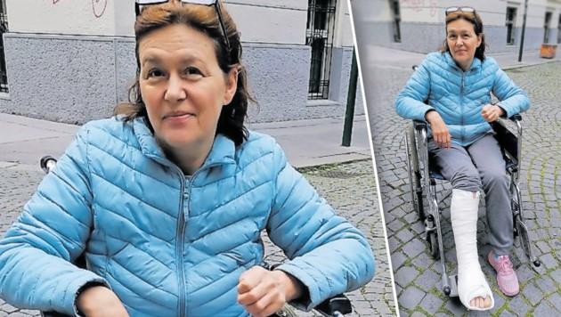 Schwerst verletzt nach Unfall: Viktoria S. mit Spaltgips (Bild: florian hitz, krone.at-Grafik)