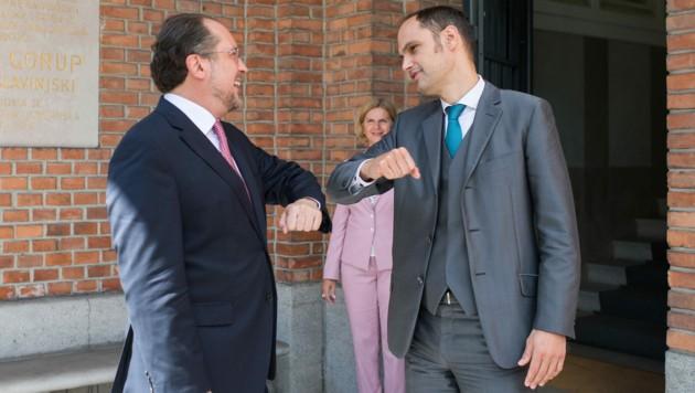 Außenminister Alexander Schallenberg (ÖVP) und sein slowenischer Amtskollegen Anze Logar (Bild: AUSSENMINISTERIUM/MICHAEL GRUBER)