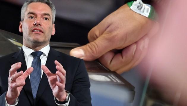 Die Asylpläne von Innenminister Karl Nehammer (ÖVP) werden von der SPÖ vehement bekämpft. (Bild: dpa, APA/HELMUT FOHRINGER, krone.at-Grafik)